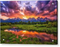 Sunrays Over The Tetons Acrylic Print by Darren White