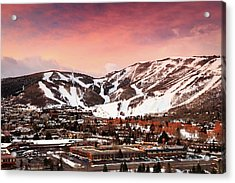 Acrylic Print featuring the photograph Sunrise Above Park City Mountain, Utah. by Johnny Adolphson