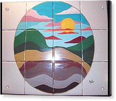 Sunrise Abstract On Tile Acrylic Print