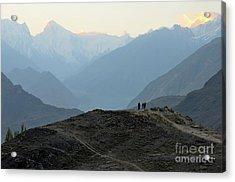 Sunrise Among The Karakoram Mountains In Hunza Valley Pakistan Acrylic Print