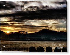 Acrylic Print featuring the photograph Sunrise And Hay Bales by Thomas R Fletcher