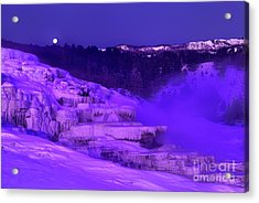 Sunrise And Moonset Over Minerva Springs Yellowstone National Park Acrylic Print