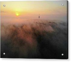 Acrylic Print featuring the photograph Sunrise And Morning Fog Warm Orange Light by Matthias Hauser