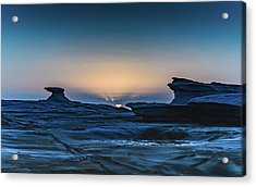Sunrise And Rock Platform Landscape Acrylic Print