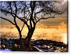 Sunrise And Sea Smoke Over Whaleback Lighthouse And Wood Island Life Saving Station Acrylic Print