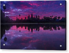 Sunrise Angkor Wat Reflection Acrylic Print by Mike Reid