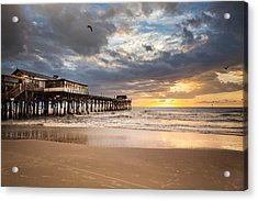 Sunrise At Cocoa Beach Pier Acrylic Print by Will Tan