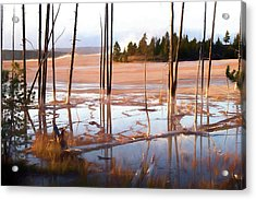 Sunrise At Fountain Paint Pots, Yellowstone National Park, Usa Acrylic Print