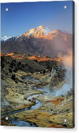 Acrylic Print featuring the photograph Sunrise At Hot Creek. by Johnny Adolphson
