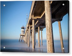 Acrylic Print featuring the photograph Sunrise At Huntington Beach Pier by Sean Foster