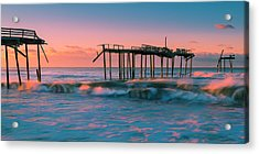 Acrylic Print featuring the photograph Sunrise At Outer Banks Fishing Pier In North Carolina Panorama by Ranjay Mitra