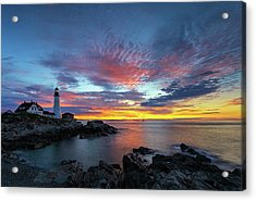 Acrylic Print featuring the photograph Sunrise At Portland Head Light by Juergen Roth