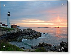 Acrylic Print featuring the photograph Sunrise At Portland Head Lighthouse by Alana Ranney