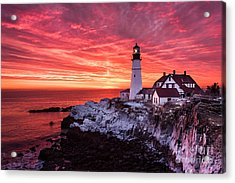Sunrise At Portland Head Lighthouse Acrylic Print by Benjamin Williamson