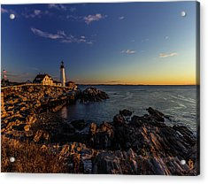 Sunrise At Portland Headlight Acrylic Print