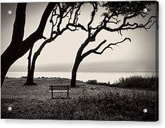 Sunrise At The Bench In Black And White Acrylic Print