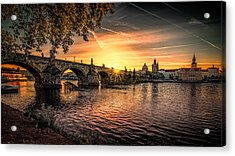 Sunrise At The Charles Bridge Acrylic Print