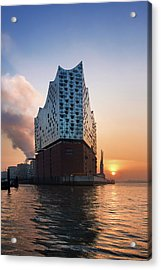Acrylic Print featuring the photograph Sunrise At The Elbe Philharmonic Hall by Marc Huebner