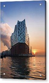 Sunrise At The Elbe Philharmonic Hall Acrylic Print by Marc Huebner