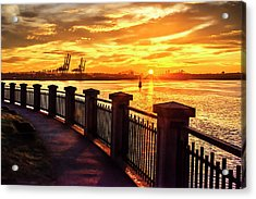 Acrylic Print featuring the photograph Sunrise At The Harbor by John Poon