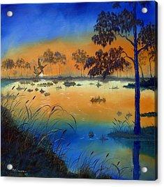 Sunrise At The Lake Acrylic Print by SueEllen Cowan