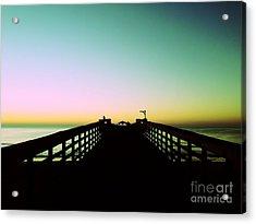 Sunrise At The Myrtle Beach State Park Pier In South Carolina Us Acrylic Print by Vizual Studio
