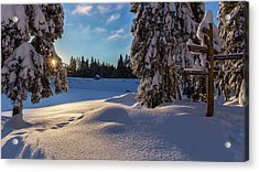 sunrise at the Oderteich, Harz Acrylic Print by Andreas Levi
