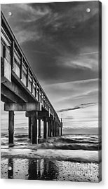 Sunrise At The Pier-bw Acrylic Print