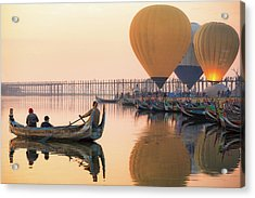 Sunrise At U Bein Bridge  Acrylic Print by Anek Suwannaphoom