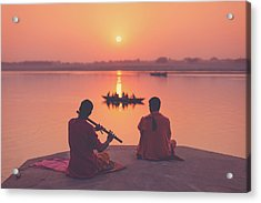 Sunrise By The Ganges Acrylic Print by Marji Lang