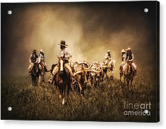 Sunrise Cattle Drive Acrylic Print