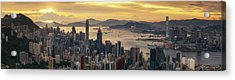 Sunrise Day To Night Shot Over Victoria Harbor  Acrylic Print by Anek Suwannaphoom