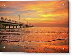 Sunrise Delight On The Beach At Shorncliffe Acrylic Print