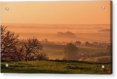Acrylic Print featuring the photograph Sunrise Foggy Valley by Jenny Rainbow