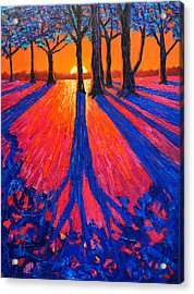 Sunrise In Glory - Long Shadows Of Trees At Dawn Acrylic Print