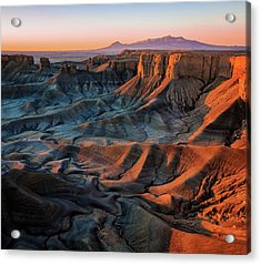Acrylic Print featuring the photograph Sunrise In The Badlands. by Johnny Adolphson