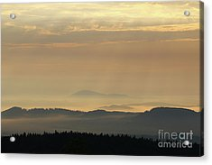 Sunrise In The Mountains - Hills In Morning Mist Acrylic Print by Michal Boubin