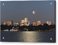 Acrylic Print featuring the photograph Sunrise Moon Over Miami by Gary Dean Mercer Clark