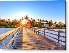 Acrylic Print featuring the photograph Sunrise Naples Pier Florida by Hans- Juergen Leschmann