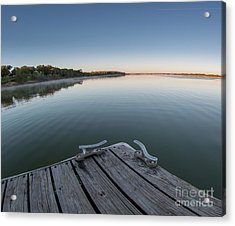 Sunrise On A Clear Morning Over Large Lake With Fog On Top, From Acrylic Print