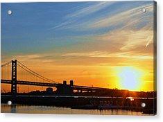 Sunrise On Ben Franklin Bridge Acrylic Print by Andrew Dinh