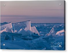 Sunrise On Lake Superior Stack Ice Acrylic Print by Donna Crider