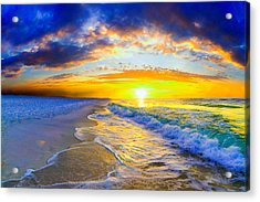 Acrylic Print featuring the photograph Sunrise On Ocean Waves Beautiful Orange Sunrise by Eszra Tanner