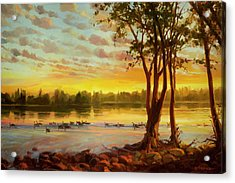 Acrylic Print featuring the painting Sunrise On The Columbia by Steve Henderson