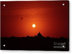 Sunrise Over A Small Town Acrylic Print by Stephan Grixti