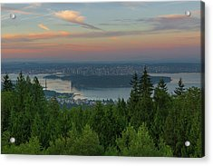 Sunrise Over City Of Vancouver Bc Canada Acrylic Print by David Gn