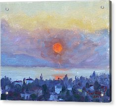 Sunrise Over Dilesi Athens Acrylic Print