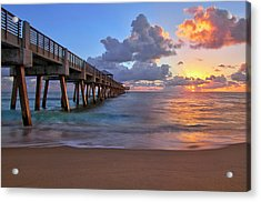 Sunrise Over Juno Beach Pier In Florida Acrylic Print