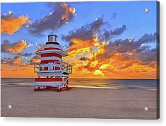 Sunrise Over Lifegaurd Stand On South Miami Beach  Acrylic Print