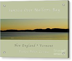 Sunrise Over Malletts Bay Greeting Card And Poster - Six V4 Acrylic Print
